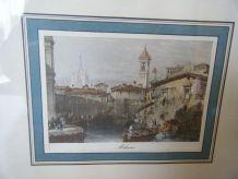 Gravure ancienne de Milan (Italie) dans son cadre