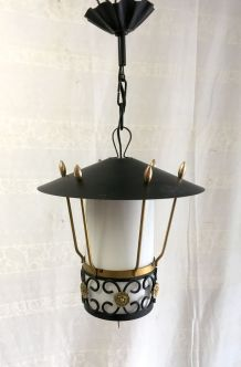 Suspension lanterne en laiton et métal – années 50