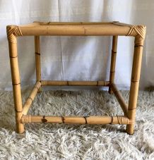 Table basse carré en bambou et rotin – années 70