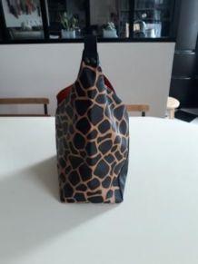 Sac créateur original noir/imprimé girafe