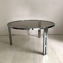 Table basse 70's en métal et verre fumé
