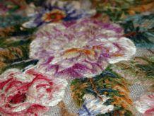 Tapis ancien Anglais Embroidery fait main, 1C673