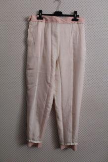 """Pantalon vintage """"Manoukian"""" carreaux vichy rose blanc"""