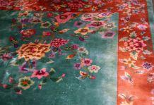 Tapis ancien Chinois Art Deco fait main, 1B725
