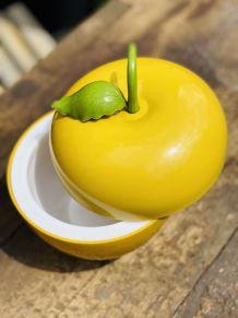 Seau à glaçons pomme jaune moutarde vintage