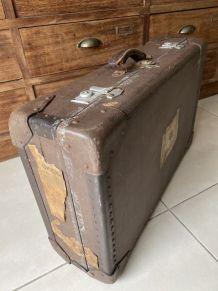 Ancienne grande valise vintage bois