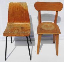 Lot de deux chaises écolier bureau