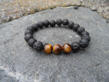 Bracelet pierre de Lave / oeil de tigre