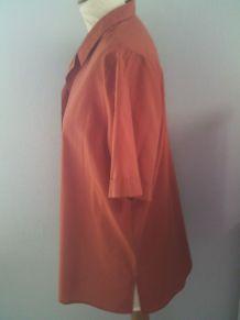 Chemisier femme manche courte orange taille 42/44