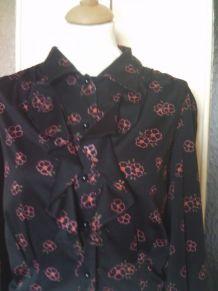 Chemise manche longue imprimé de fleur taille 38