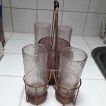 Service à jus de fruits en verre soufflé et seau à glace