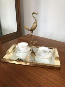 Plateau Art-Déco miroir et métal doré