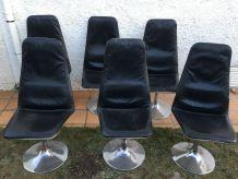 Lot de 6 chaises 70'S en cuir