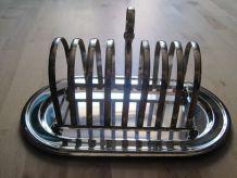 porte-toast avec son plateau en métal chromé argent