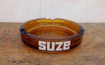 Grand cendrier publicitaire SUZE en verre ambré