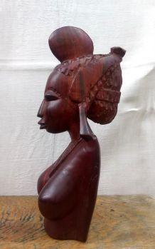 Grand buste de femme en bois sculpté - Art  africain