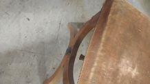 Tabouret bois et velours à restaurer