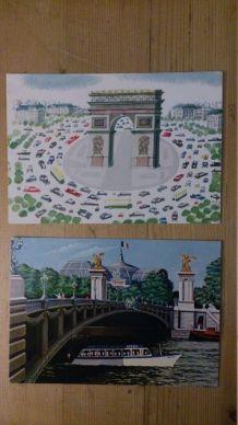 2 cartes Postales - naïfs - vues de Paris (1980)