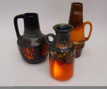 Vase orange vintage⎥fat lava space age⎥lot de 3