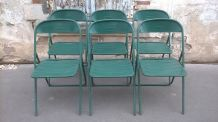six chaise pliante métal industrielle