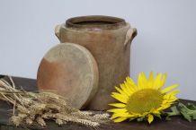Grand pot cylindrique en grès avec couvercle