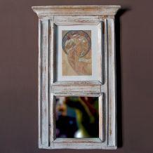 Miroir trumeau  avec illustration Mucha