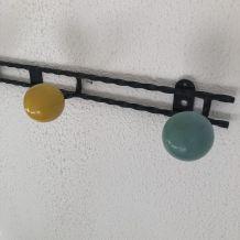 Portemanteaux 4 patères boules vintage 1960 - 60 cm