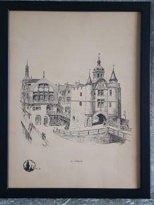 5 planches illustrations de Paris par A. Robida