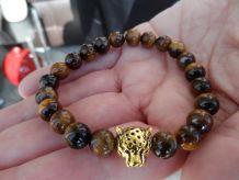 bracelet oeil de tigre / tête de panthère
