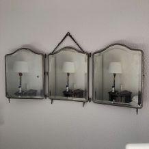 Miroir triptyque barbier biseauté auburn vintage 1920 - 37 x