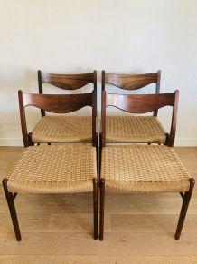 Suite de 4 chaises scandinaves palissandre & corde Glyngøre