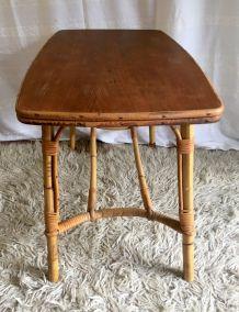 Table basse bois et rotin – années 60