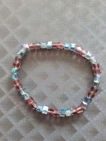 (B2) Bracelet perles de verre vieux rose / gris bleu (mylana
