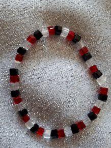 (B3) Bracelet perles de verre rouge/noir/transparent