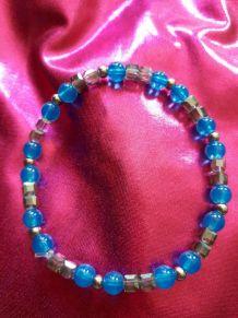 (B4) bracelet bleu transparent turquoise