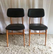 Duo de chaises style scandinave skaï noir – années 60