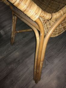 Grand fauteuil vintage rotin/osier