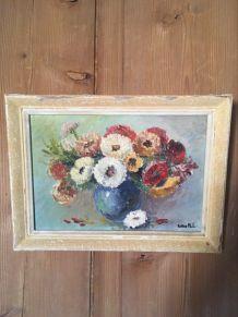 """Nature morte""""Bouquet de fleurs au vase bleu""""."""
