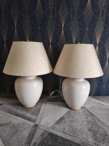 lampes 2 feux pied céramique craquelée blanche