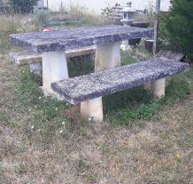 table de jardin beton et bancs belle patine dans tres bon ju