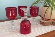 4 verres bullés à pied artisanaux