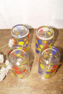 Lot de 4 verres vintage années 60/70
