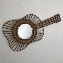 Miroir soleil rotin Guitare vintage 1960 - 75 x 38 cm