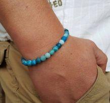 bracelet pierre Agate Bleue