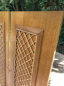 Paire de portes d'armoire en rotin et bois 1950