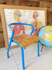 Chaise écolier enfant vintage Jacques Hitier