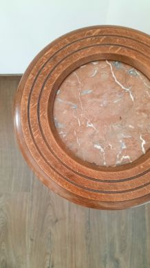 Sellette bois et marbre rose