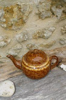 Théière vintage marron marbré