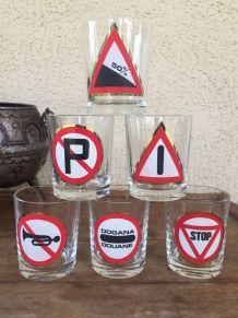 Lot de 6 verres Vintage CODE DE  LA ROUTE