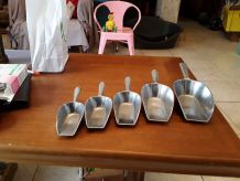 Lot 5 pelles en aluminium vintage